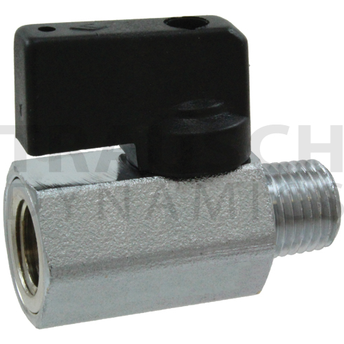 NICKEL CHROME PLATED MINI BALL VALVE - MALE X FEMA...