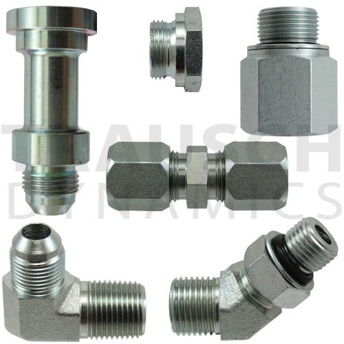 Steel Hydraulic Adapters and Fittings, JIC, Pipe, NPSM, SAE O-Ring, Face Seal, Flareless, Metric, BSPT, BSPP, Code 61 & 62 Flanges
