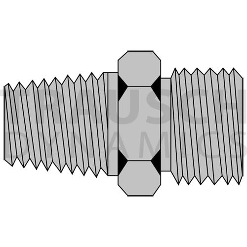 9607 ADAPTERS - MALE PIPE X MALE METRIC DIN - PORT...